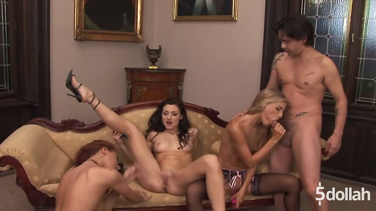 Young Aletta Ocean And Two Lesbian Friends Share Cock