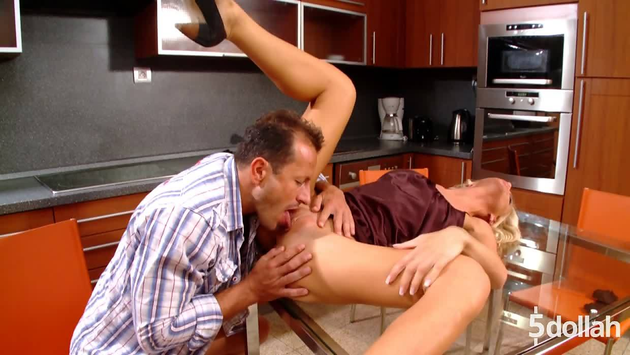 Curly Blonde Milf Cameron Gold Gets Fuck On Kitchen Table