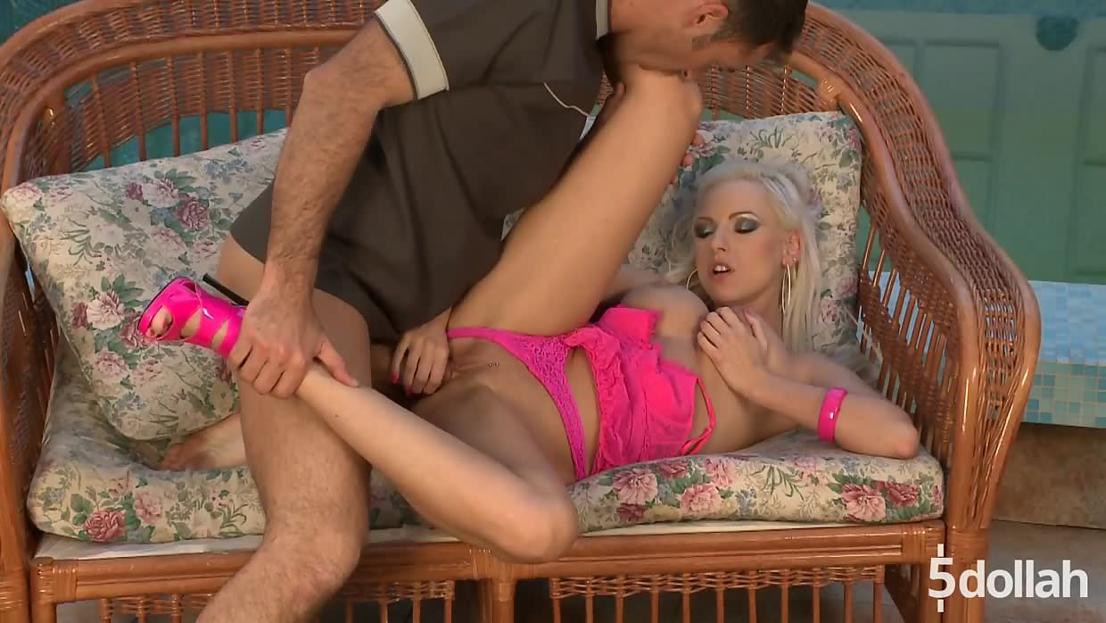 Gorgeous Blonde Alexis Rides Cock On A Couch By The Pool