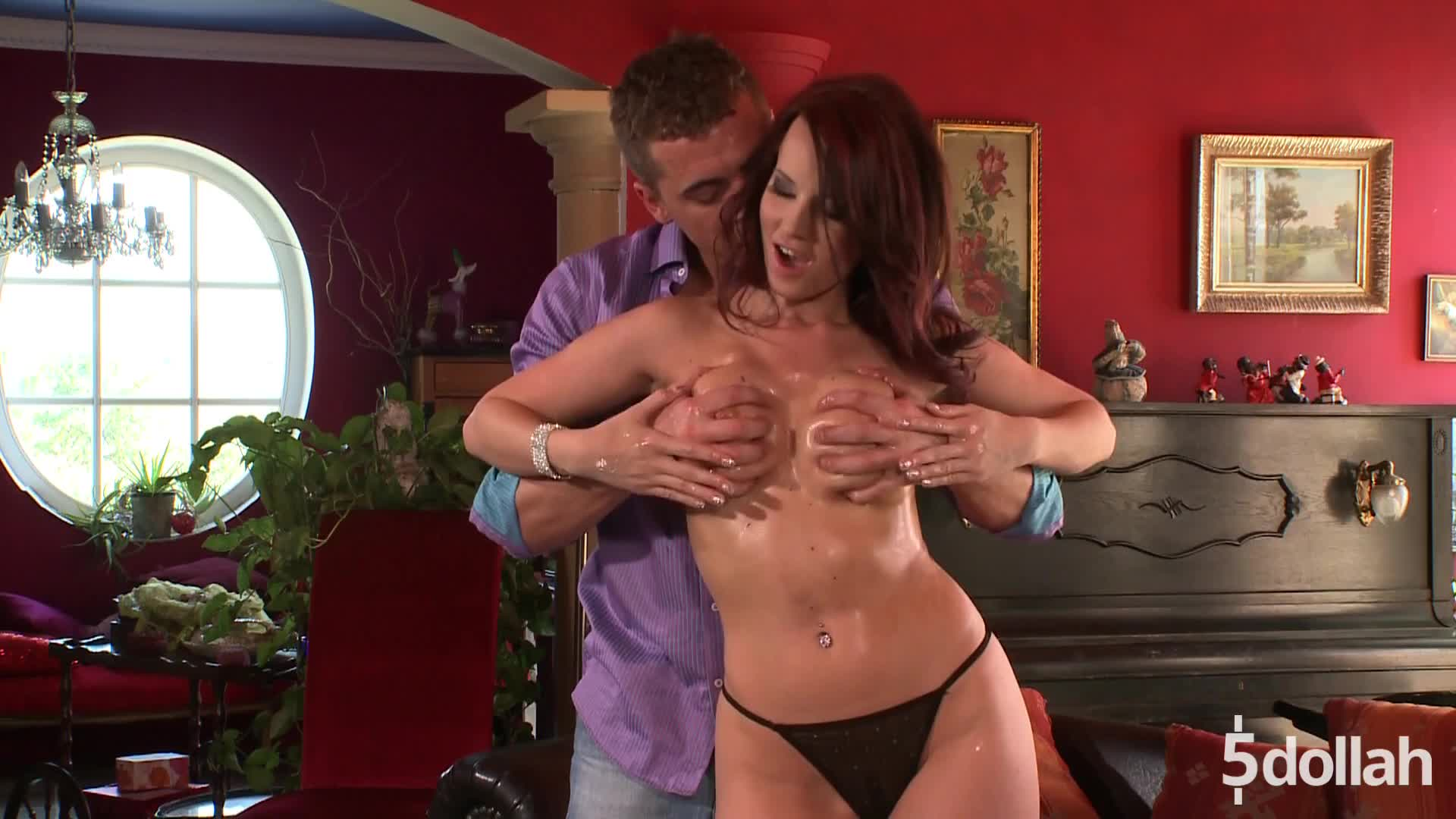 Lascivious Babe Cindy Dollar Fondles Hard Cock With Her Tits
