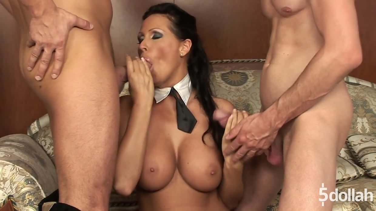 Big Titted Brunette Mandy Bright Plays With Two Cock In Bed