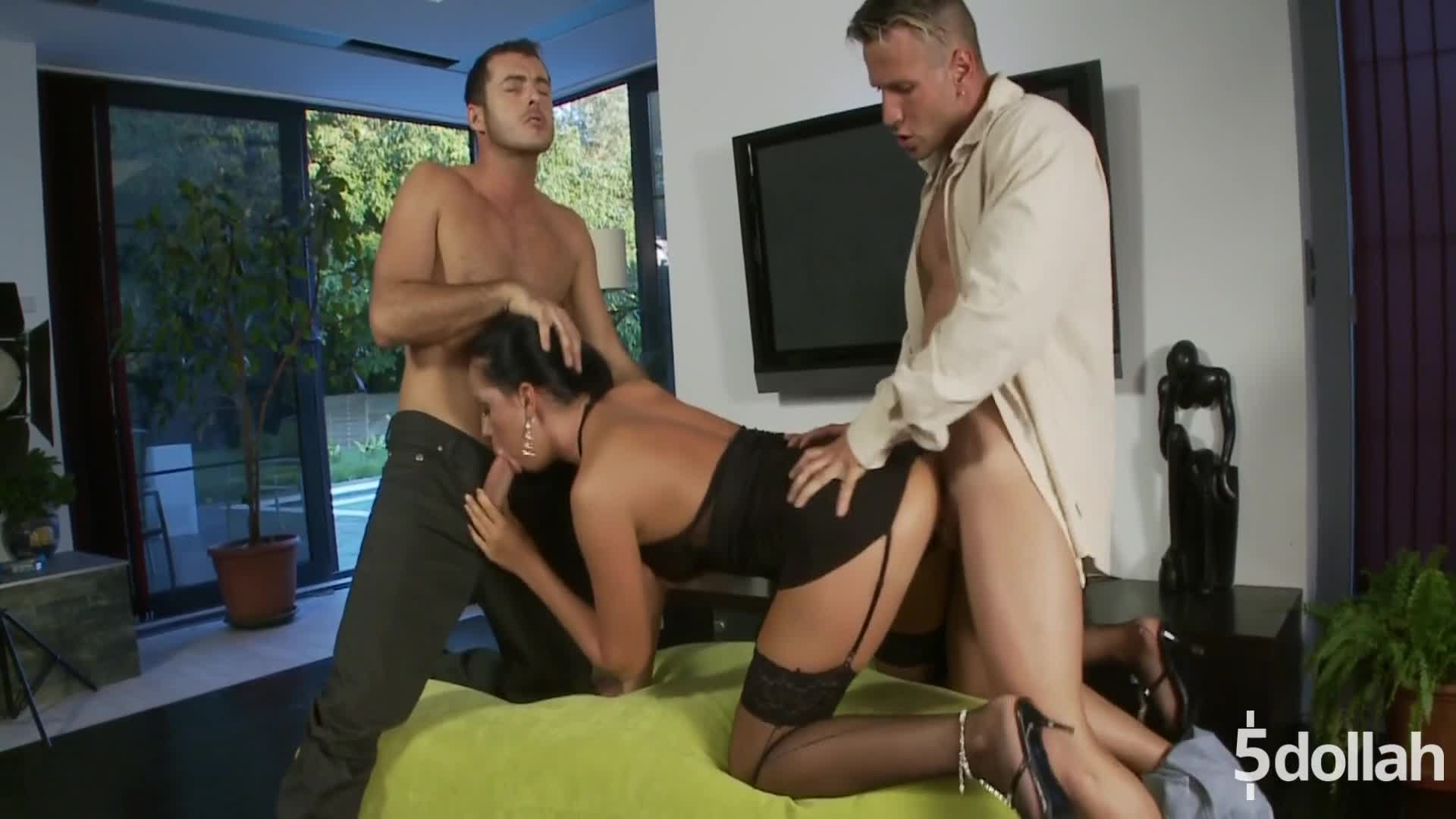 Brunette Milf Larissa Dee Fucked By Two Studs For A Facial
