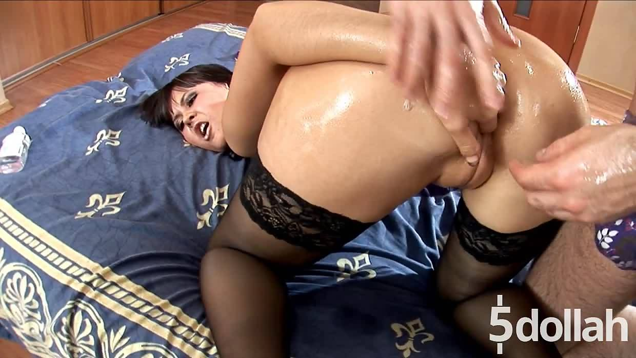 Oiled Her Pussy For A Hardcore Doggy Style Fuck